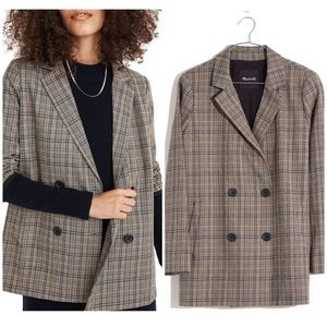 New Madewell plaid double breasted blazer